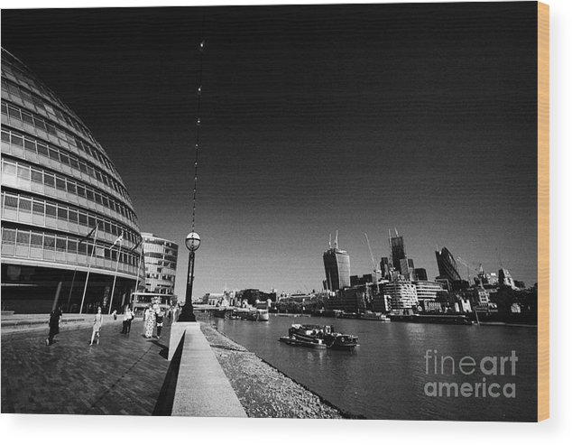 London Wood Print featuring the photograph London City Hall On The Banks Of The River Thames With Views Of The City Of London England Uk by Joe Fox