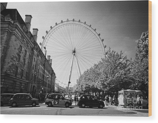 London Wood Print featuring the photograph London Eye And County Hall Viewed From The Southbank London England Uk by Joe Fox