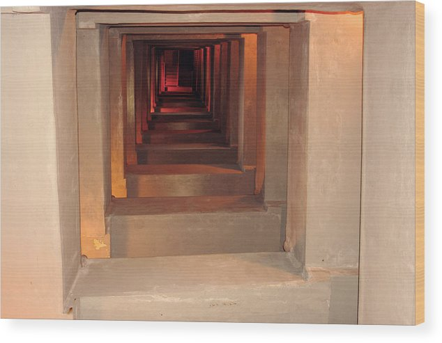 Stairs. Tunnel Wood Print featuring the photograph Look Deep by Selicia Russo