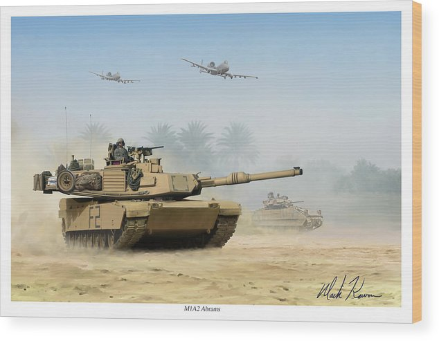 Tank Wood Print featuring the painting M1a2 Abrams by Mark Karvon