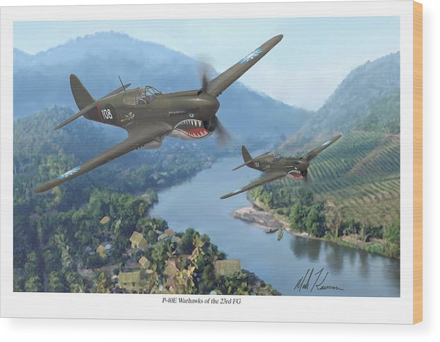 Airplanes Wood Print featuring the painting P-40 Warhawks Of The 23rd Fg by Mark Karvon