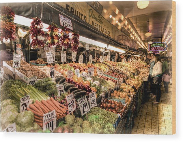Seattle Wood Print featuring the photograph Pike Place Veggies by Spencer McDonald