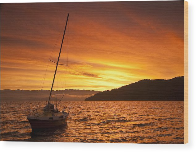 Sailboat Wood Print featuring the photograph Red Sunrise by Randolph Fritz