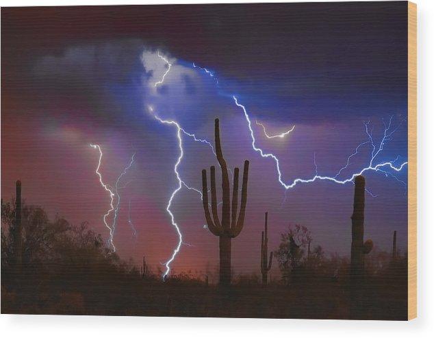 Saguaro Wood Print featuring the photograph Saguaro Lightning Nature Fine Art Photograph by James BO Insogna