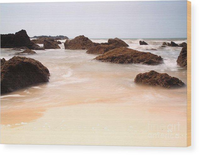 Arabian Sea Wood Print featuring the photograph Slow Shutter Sea Around Rocks by Deborah Benbrook