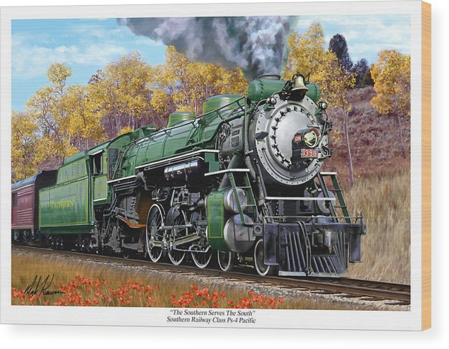 Railraod Wood Print featuring the painting Southern Railway Class Ps-4 Pacific by Mark Karvon