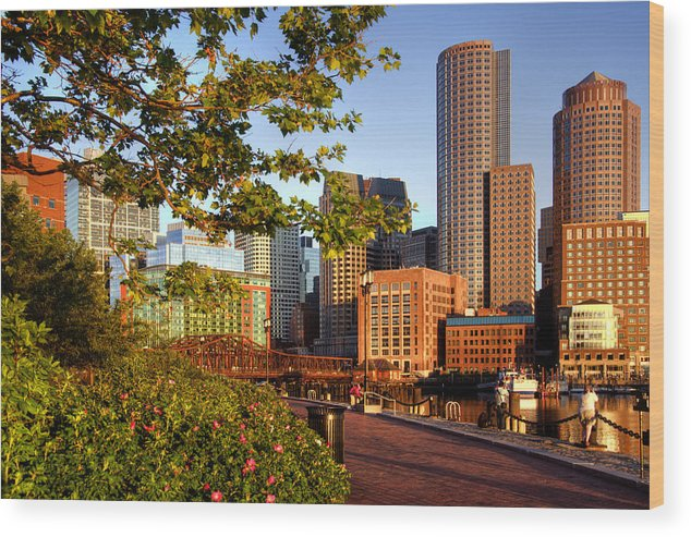 Boston Wood Print featuring the photograph Sunrise On The Harbor - Boston Skyline by Joann Vitali