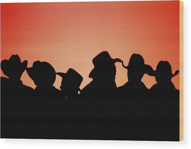 Sunset Wood Print featuring the photograph Sunset Cowboys by Paul Conrad