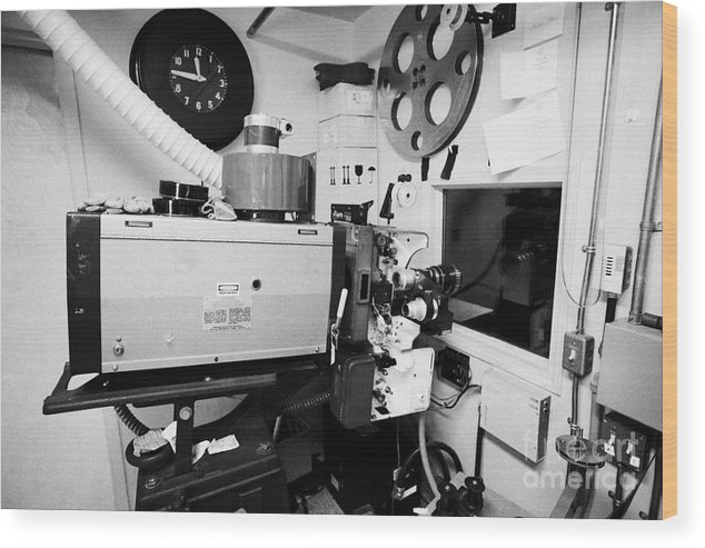 Old Wood Print Featuring The Photograph Super Lume X Lamphouse Film Projector In Cinema