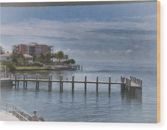 Beach Wood Print featuring the painting The Dock by Wynn Davis-Shanks