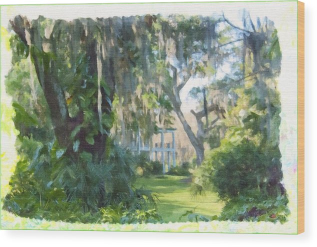 The Old South Wood Print featuring the painting The Plantation by Wynn Davis-Shanks