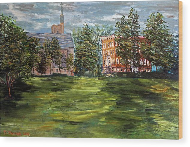 St. Lawrence University Wood Print featuring the painting The Scarlet And The Brown On A Cloudy Day In July by Denny Morreale