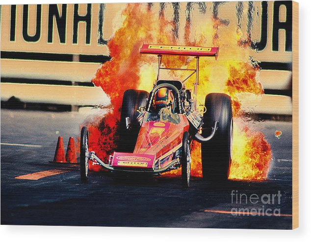Vintage Top Fuel Dragster Fire Burnout-wild Bill Carter Wood Print