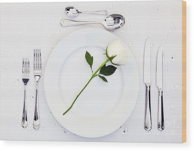 Table Wood Print featuring the photograph Place Setting With White Rose by Richard Thomas