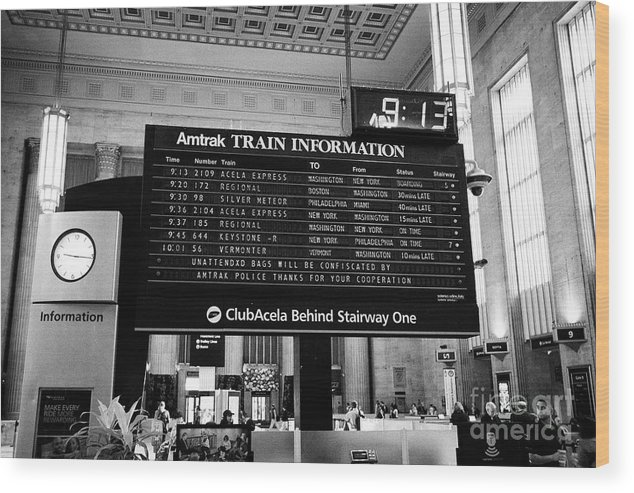 amtrak train information board in main waiting room inside septa 30th  street train station Philadelp Wood Print