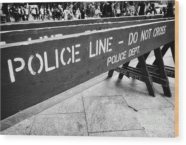 blue wooden police line do not cross nypd crowd traffic barrier New York  City USA Wood Print