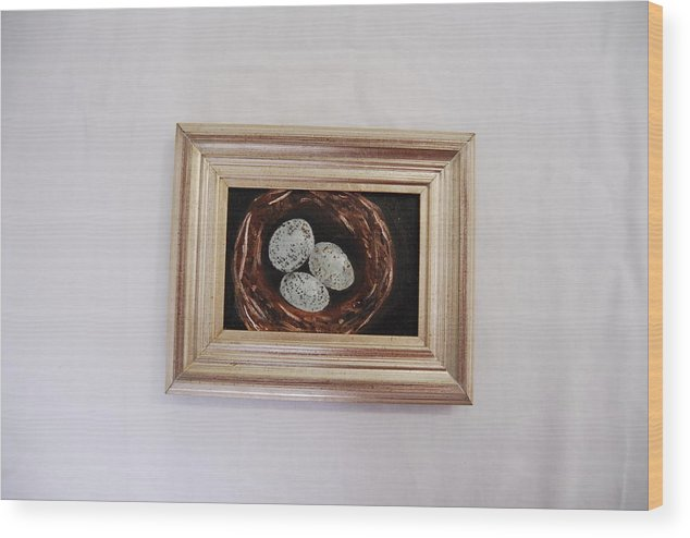 Still Life Of 3 Robin's Eggs Wood Print featuring the painting 3 Robin by Marti Kuehn