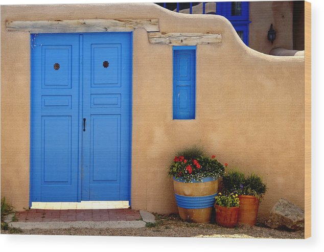 Adobe Wood Print featuring the photograph Adobe Walls With Blue Doors Ranchos De Taos New Mexico by George Oze