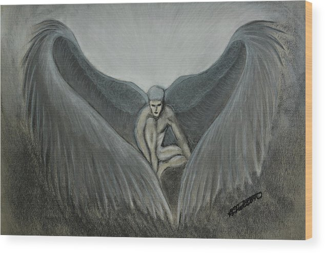 Angel Wood Print featuring the painting Angel At Twilight - Charcoal - 8 X 12 by B Nelson