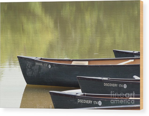 Canoe Wood Print featuring the photograph Calm Morning by Jeannie Burleson