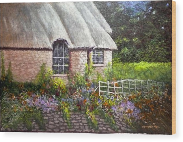 Landscape Wood Print featuring the painting Ciotswold by Annette Tan