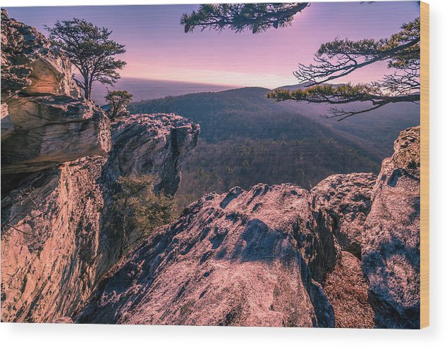 North Carolina Wood Print featuring the photograph Colorful Sunset At Hanging Rock by Capturing The Carolinas
