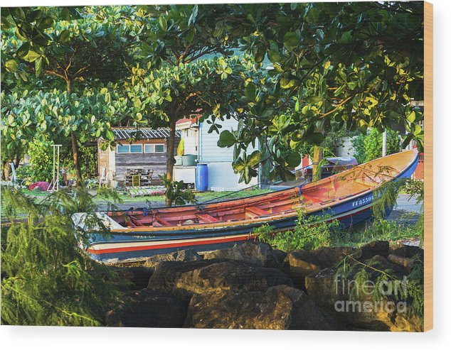 Caribbean Wood Print featuring the photograph Fishing Boat At Rest by Pascal Maillet-Contoz