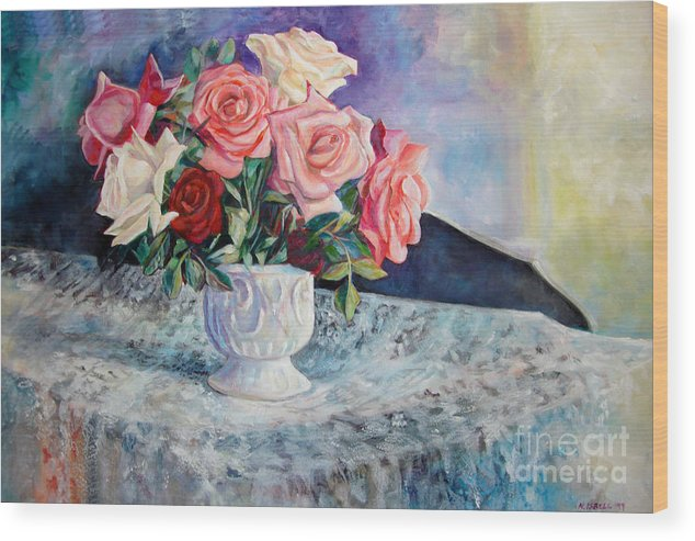 Still Life Wood Print featuring the painting Fresh Roses by Nancy Isbell