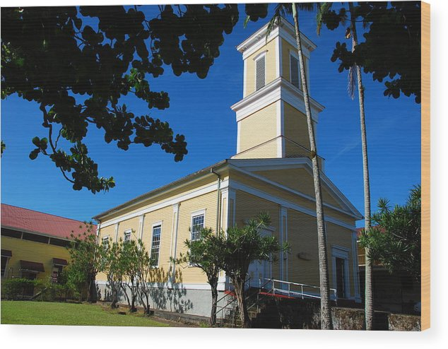 Christian Wood Print featuring the photograph Haili Church - Hilo Hawaii by Steven Rice