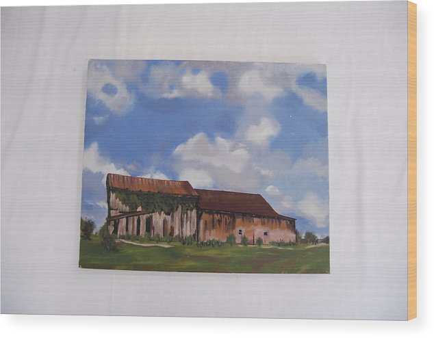 Indiana Barn Landscape Wood Print featuring the painting Indiana Barn by Marti Kuehn