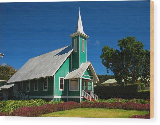 Wood Print featuring the photograph Ke Ola Mau Loa Church - Waimea by Steven Rice