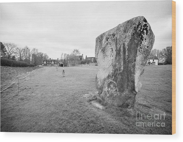 Avebury Wood Print featuring the photograph Large Sarsen Stone Part Of The Outer Ring Stone Circle Avebury Stone Circles Wiltshire England Uk by Joe Fox
