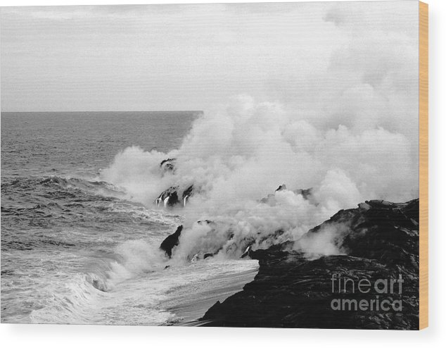 Lava Wood Print featuring the photograph Lava Flowing To The Sea by Susan Chandler