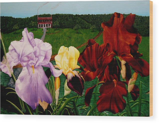 Garden Wood Print featuring the painting M S O S Irises 2 by Ivan Rijhoff