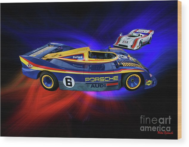 Mark Donohue Wood Print featuring the photograph Mark Donohue And George Follmer Porsche by Blake Richards