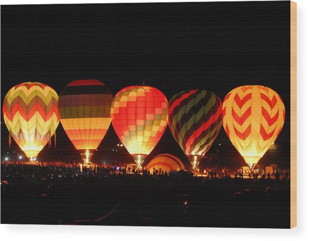 Balloon Wood Print featuring the photograph Mass Balloon Glow by Owen Ashurst