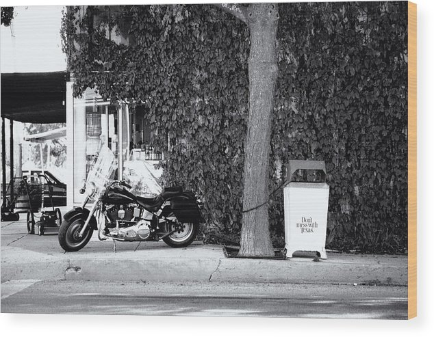 Motorcycle Wood Print featuring the photograph Motorcycle In Big Spring Tx by Troy Montemayor