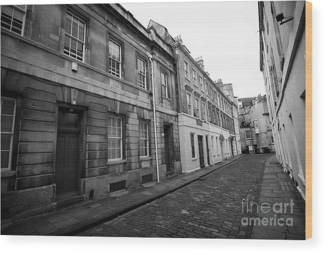 Narrow Wood Print featuring the photograph narrow cobbled old orchard street Bath England UK by Joe Fox