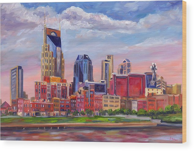 Nashville Skyline Wood Print featuring the painting Nashville Skyline Painting by Jeff Pittman