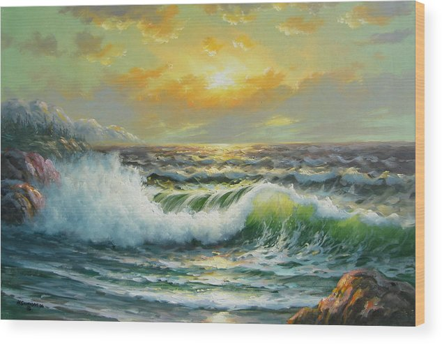 Seascape Wood Print featuring the painting Near Bella Coolla by Imagine Art Works Studio