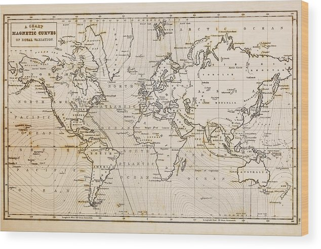 Old Hand Drawn Vintage World Map Wood Print By Richard Thomas - Vintage world map on wood