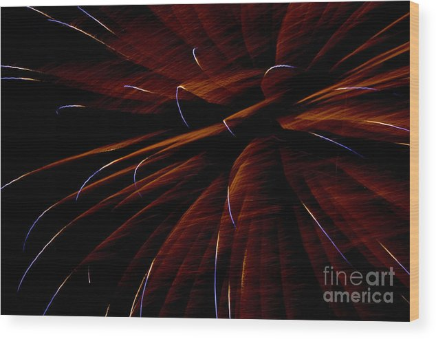 Fireworks Wood Print featuring the photograph Red Flare by Jeannie Burleson