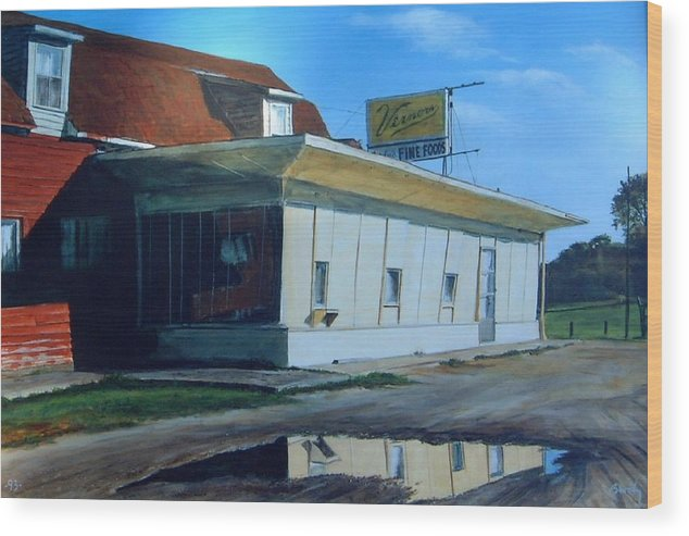 Landscape Wood Print featuring the painting Reflections Of A Diner by William Brody