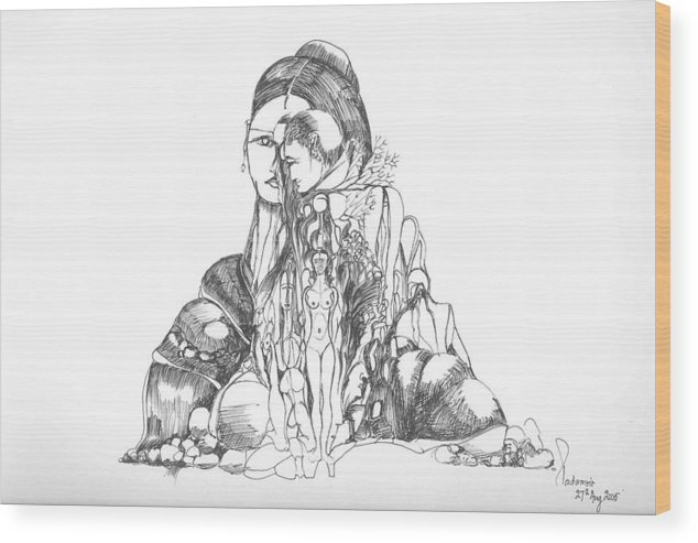 Surreal Wood Print featuring the drawing Rocks And Bodies by Padamvir Singh