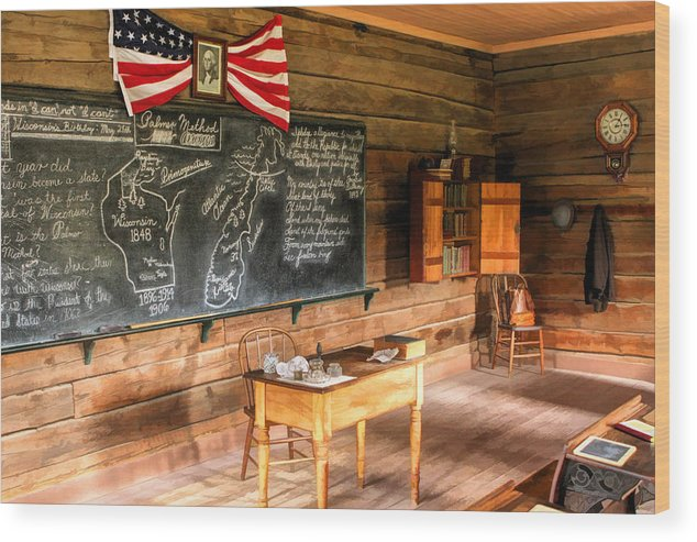 Old World Wisconsin Wood Print featuring the painting Schoolhouse Classroom At Old World Wisconsin by Christopher Arndt