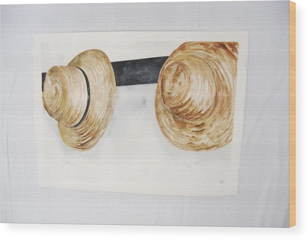 Shaker Mens' Hats On Pegs Wood Print featuring the painting Shaker Mens' Hats by Marti Kuehn