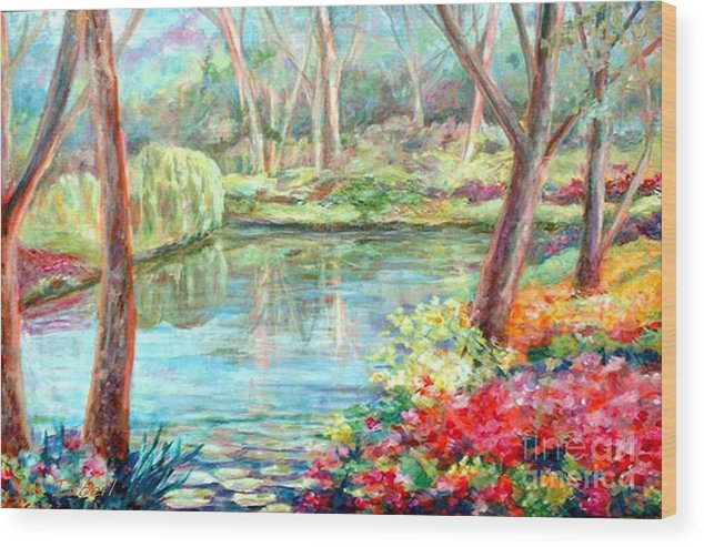 Landscape Wood Print featuring the painting Silent Pond by Nancy Isbell