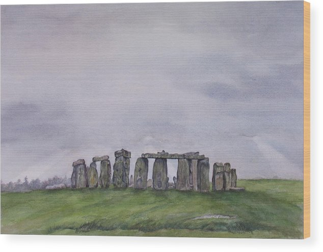 Stonehenge Wood Print featuring the painting Stonehenge by Debbie Homewood