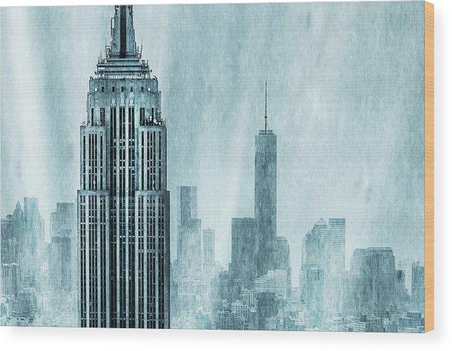 Empire State Building Wood Print featuring the digital art Storm Troopers by Az Jackson