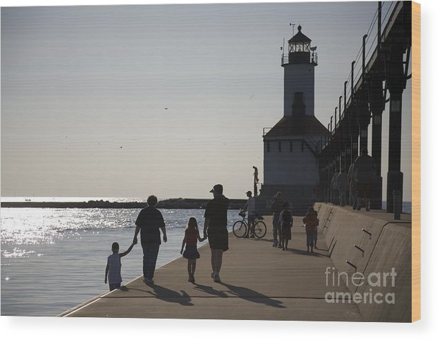 Lighthouse Wood Print featuring the photograph Stroll by Jeannie Burleson